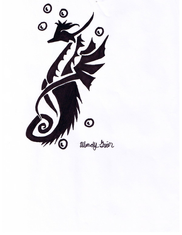 Black Ink Tribal Sea Horse Tattoo Design