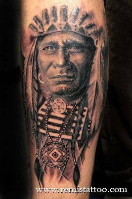 Black n Grey Ink Indian Tattoo Design