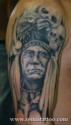 Black n Grey Ink Indian Tattoo  On Arm