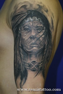 Black n Grey Ink Indian Tattoo On Upper Arm
