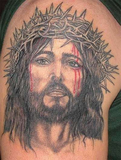 Bleeding Jesus Head Portrait Tattoo Design