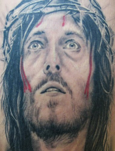 Bleeding Jesus Portrait Tattoo Design