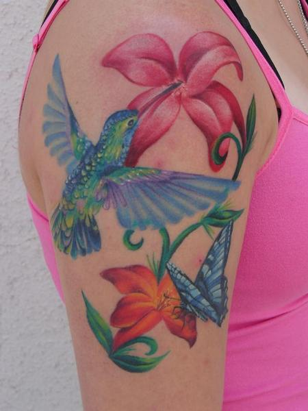Blue Hummingbird n Flowers Tattoo On Right Shoulder