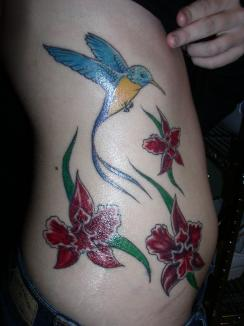 Charming Hummingbird n Flowers Tattoo On Side