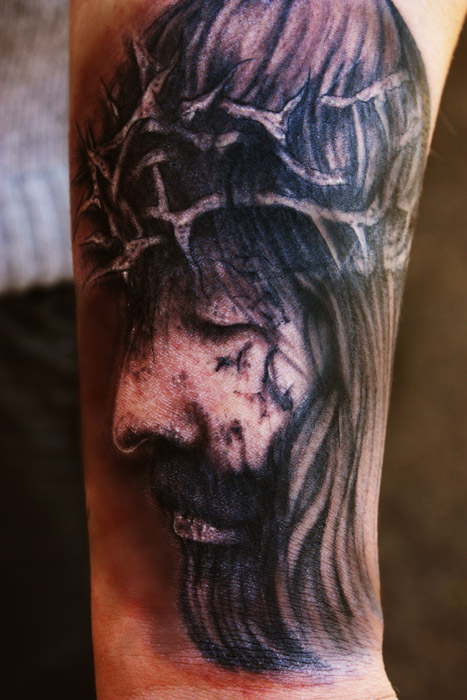 Christ Jesus Portrait Tattoo On Arm