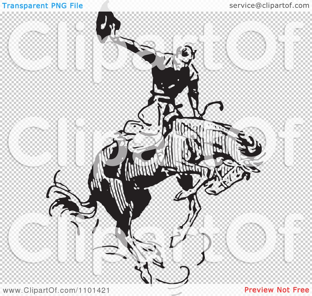 Clipart Retro Black And White Rodeo Cowboy On A Bucking Horse Tattoo Design
