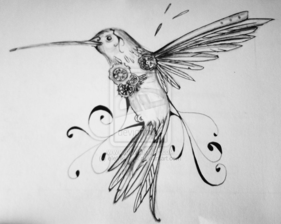 Clockwork Hummingbird Tattoo Design