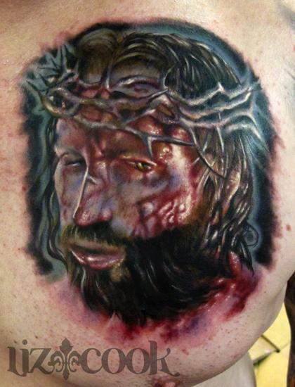 Color Horror Passion Jesus Christ Portrait Realistic Tattoo On Chest