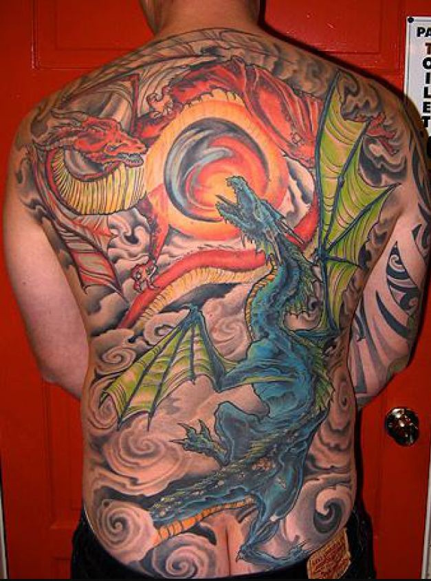 Colorful Japanese Dragon Tattoo On Full Back