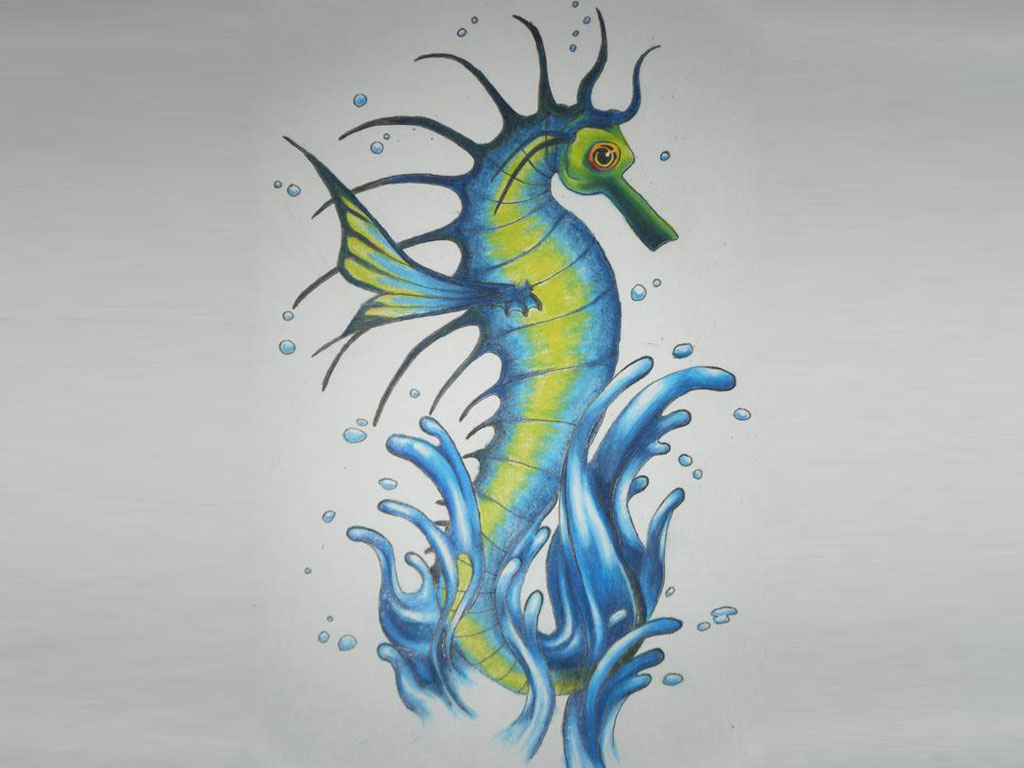 Colorful Seahorse Jump From Water Tattoo Design