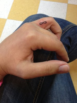 Cute Infinity Symbol Tattoo For Finger