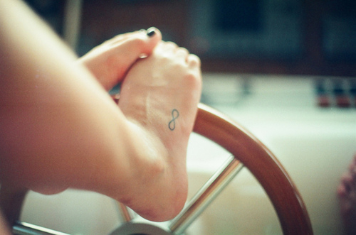 Cute Infinity Symbol Tattoo On Right Foot