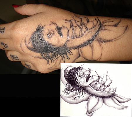 Dead Insect Tattoo On Hand