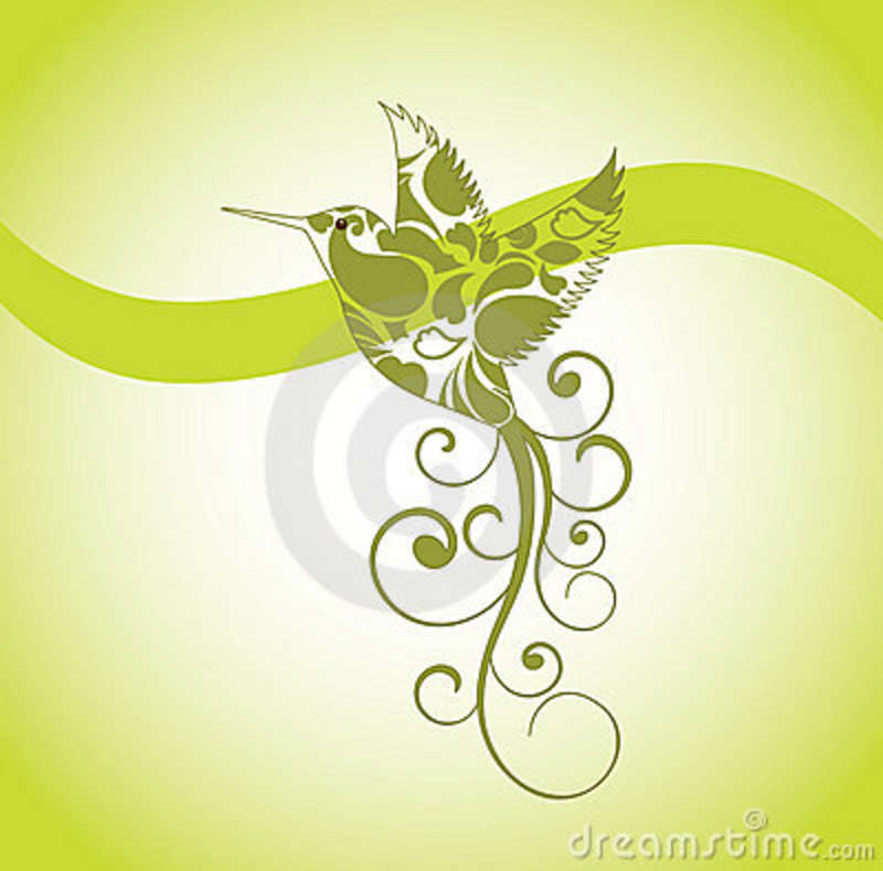 Decorative Hummingbird Tattoo Design