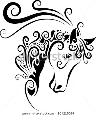 Designer Horse Head Tattoo Sample