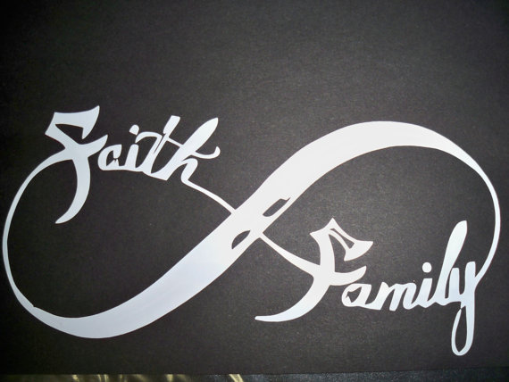 Faith Family Infinity Symbol Tattoo On Black Background