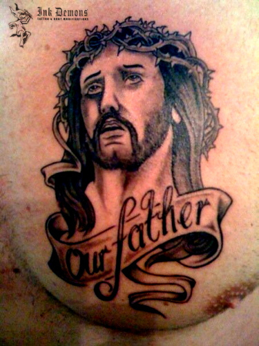Father Jesus Tattoo On Chest