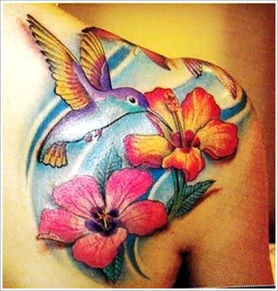 Flowers n Hummingbird Tattoo On Back Shoulder