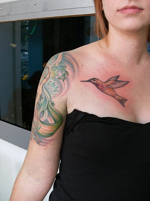 Flying Hummingbird Tattoo On Chest For Girls