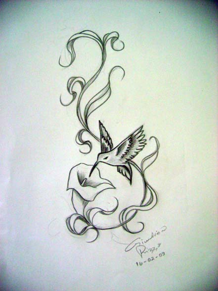 Freehand Hummingbird Tattoo Design