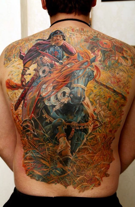 Full Back Warrior Horse Tattoo Design