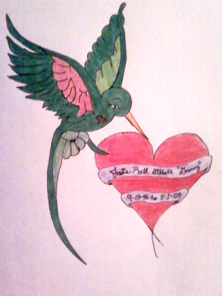 Green Hummingbird n Heart Tattoo Design