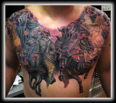 Grim Reaper Horse Tattoo On Chest
