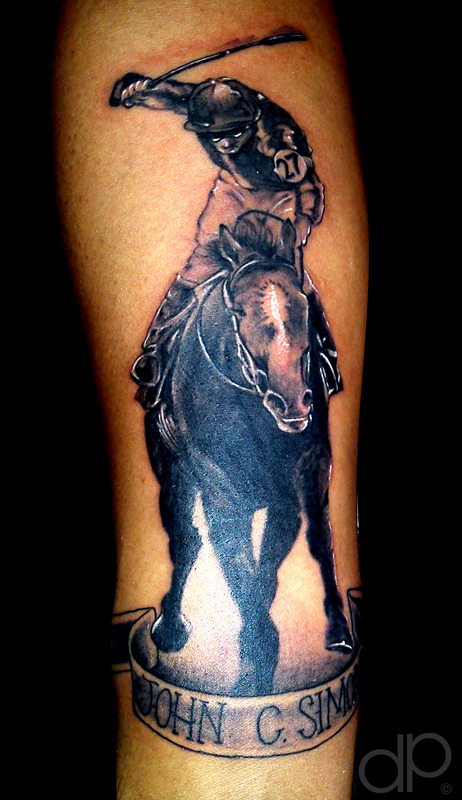 Horse And Jockey Thorough Bred Horse Racing Tattoo Design