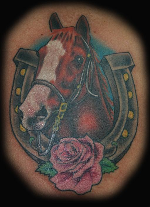 Horse n Horseshoe Tattoo Design