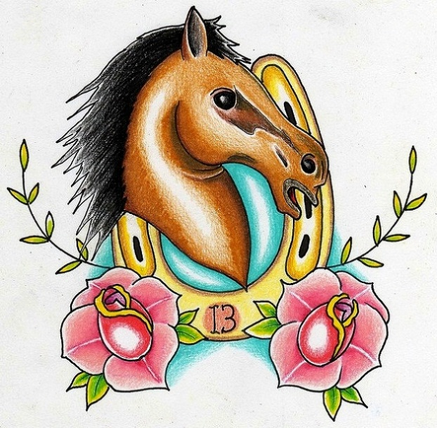 Horse Rose Horseshoe Tattoo Design