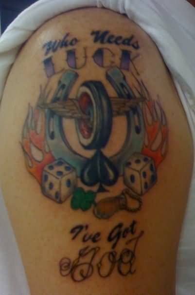 Horseshoe Dice Gambling Tattoo On Shoulder