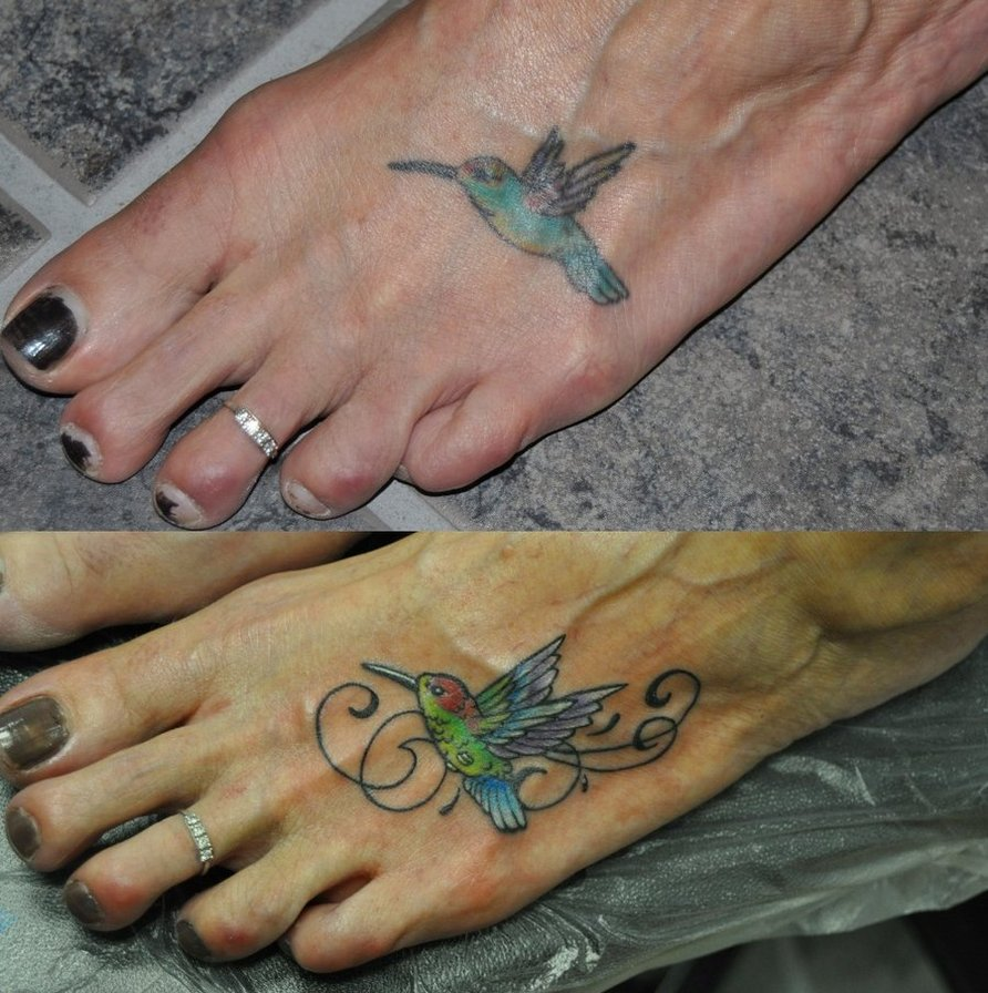 Hummingbird Tattoo On Foot Hummingbird Tattoos, D...