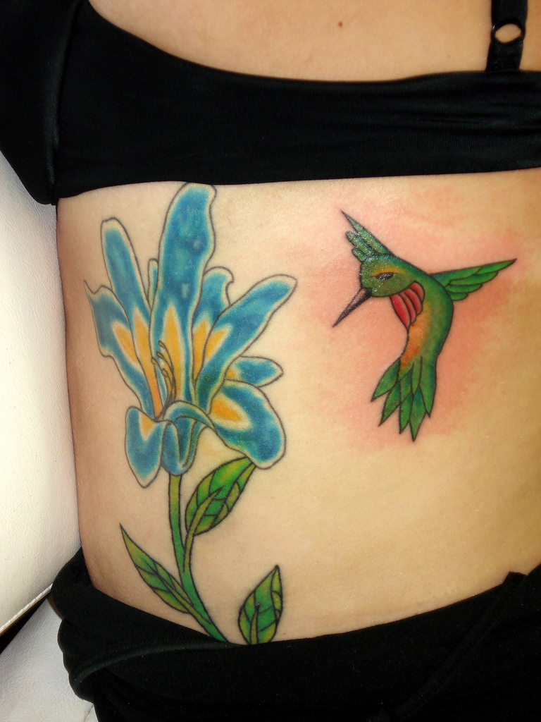 Hummingbird Tattoo On Lowerback