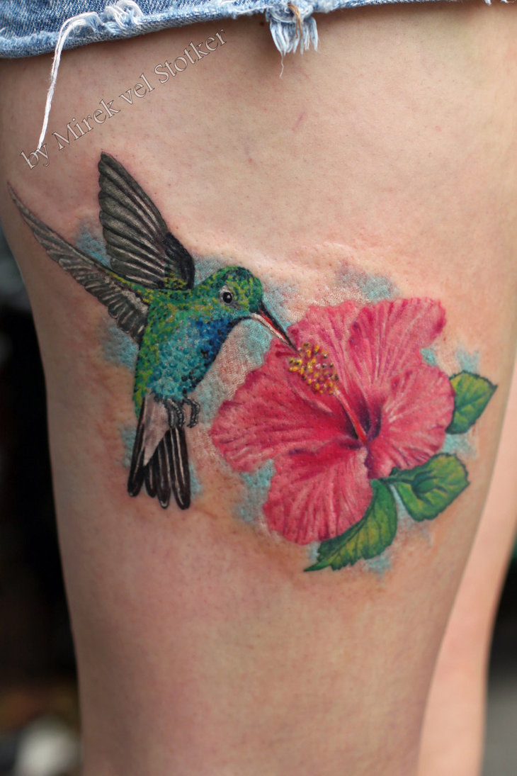 Pics Photos Hibiscus And Hummingbird Tattoo On Ankle