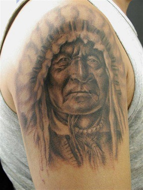 Indian Chief Tattoo On Shoulder