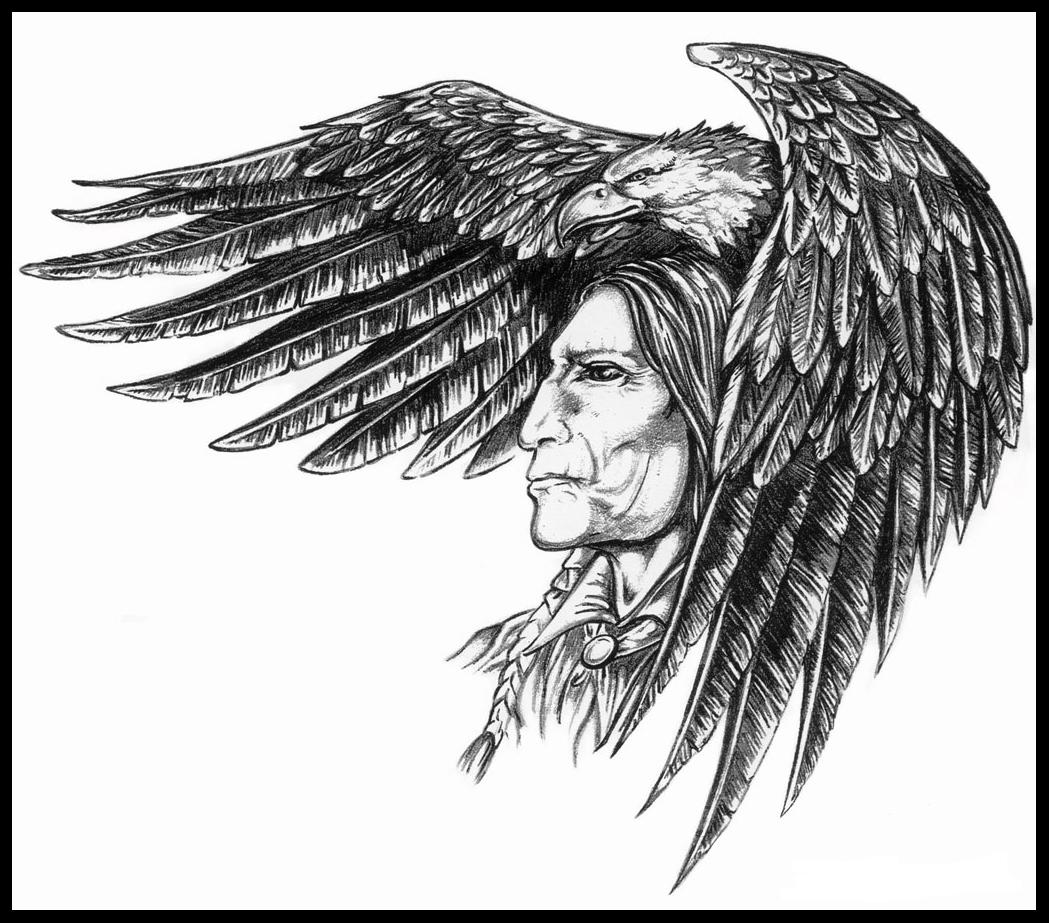 Indian Face n Eagle Tattoo Design