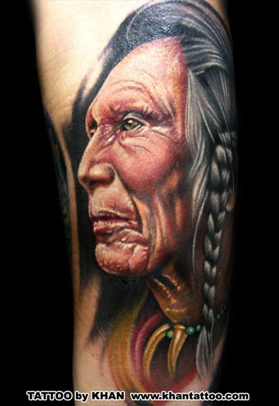 Indian Face Portrait Tattoo Design