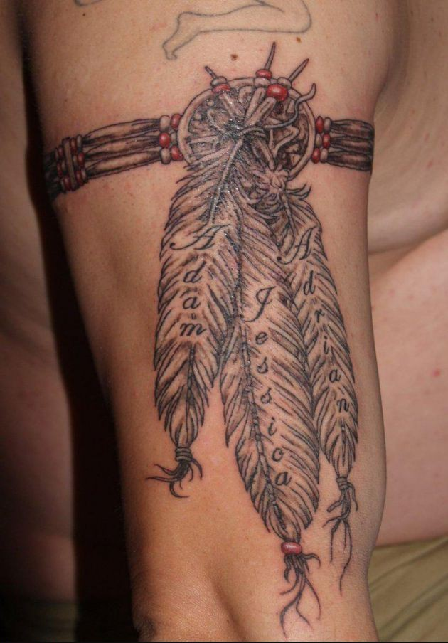 Indian Feather Armband Tattoo For Men