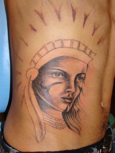 Indian Girl Face Portrait Tattoo On Side Stomach