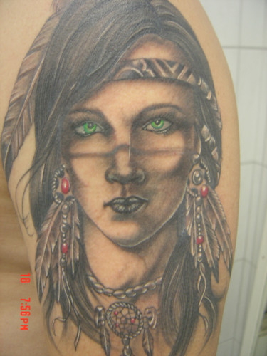 Indian Lady Portrait Tattoo On Biceps