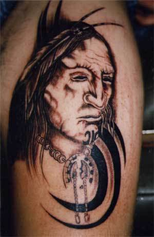 Indian People Face Tattoo Design