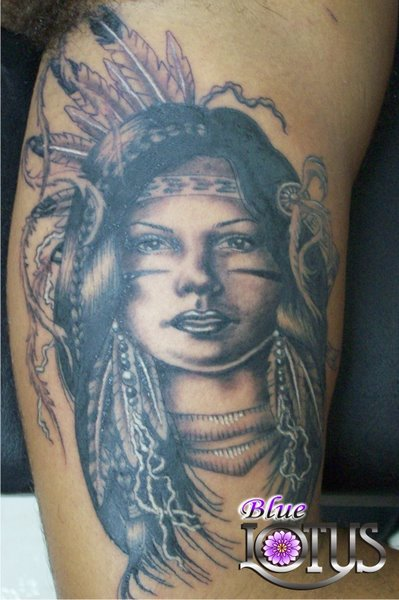 Indian Woman Face Portrait Tattoo Design