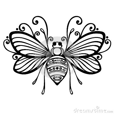 Insect Bee Vector Beautiful Exotic Patterned Tattoo Design