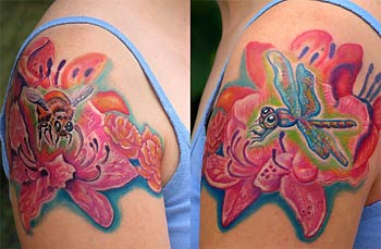 Insect n Flower Tattoo On Shoulder