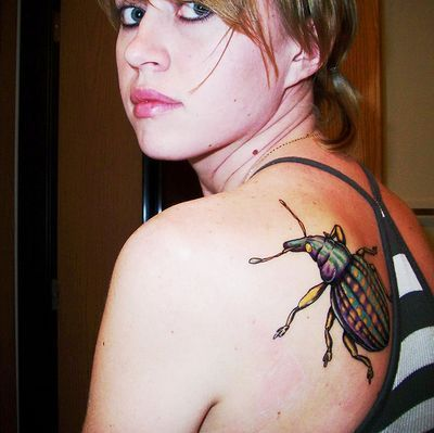 Insect Tattoo On Back Shoulder