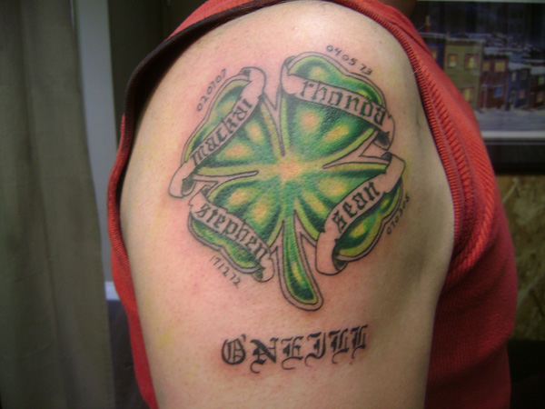 Irish Four Leaf Clover Tattoo On Right Shoulder
