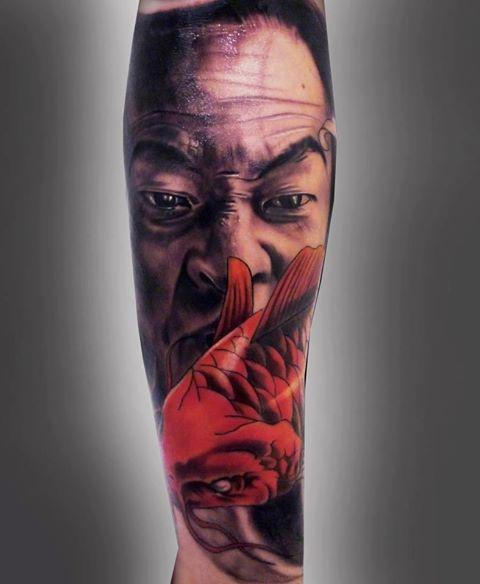 Japanese Angry Man With Koi Fish Tattoo Design