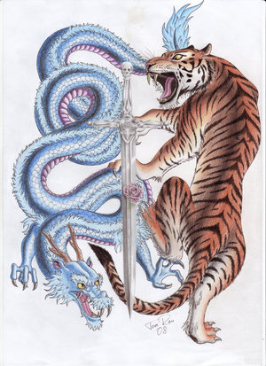 Japanese Dragon And Tiger Fighting Tattoo Design