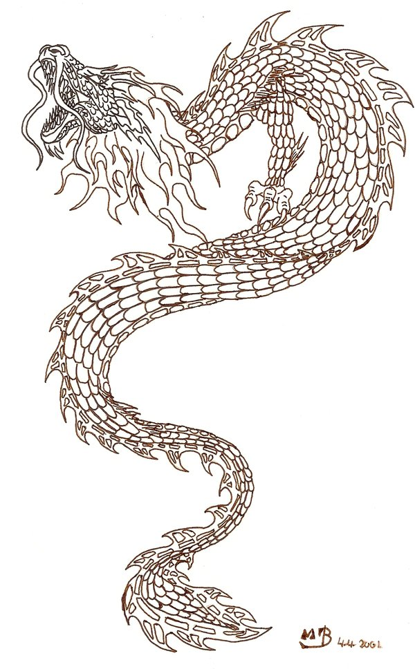 Simple Japanese Dragon Tattoo