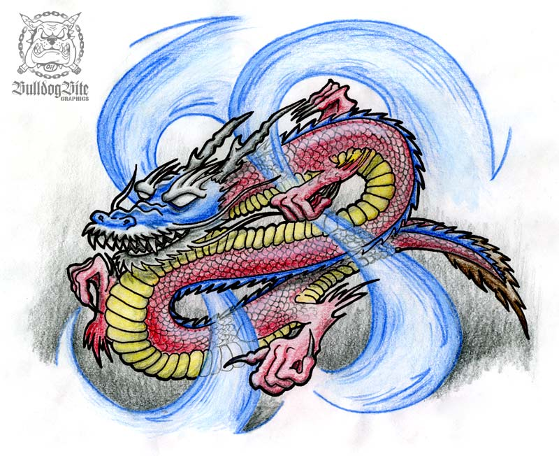 Japanese Dragon Tattoo Flash